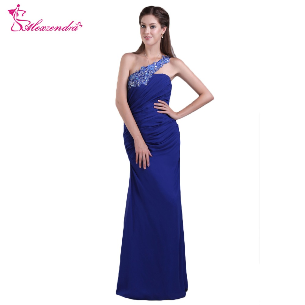 Alexzendra Royal Blue Chiffon Mermaid   Prom     Dresses   2018 One Shoulder Formal Evening   Dress   Party   Dresses   for Girls
