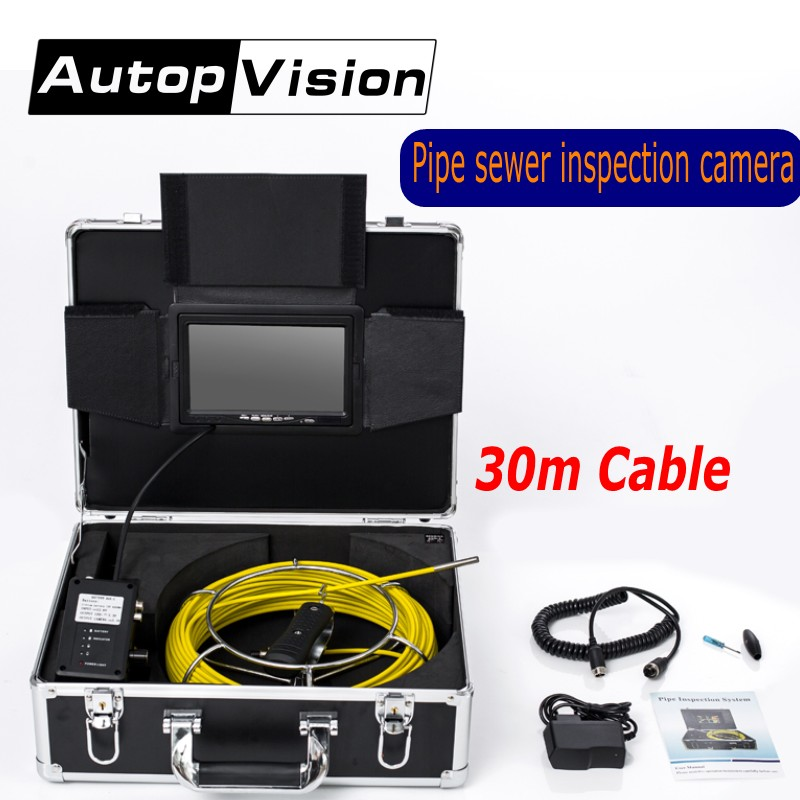 AP70 30M Professional Pipeline Endoscope 6.5/17/23mm Pipe Drain Sewer Inspection Camera 7''LCD Screen Waterproof Video Camera waterproof camera head 23mm pipe inspection cameras for sewer drain check with keyboard 710dk