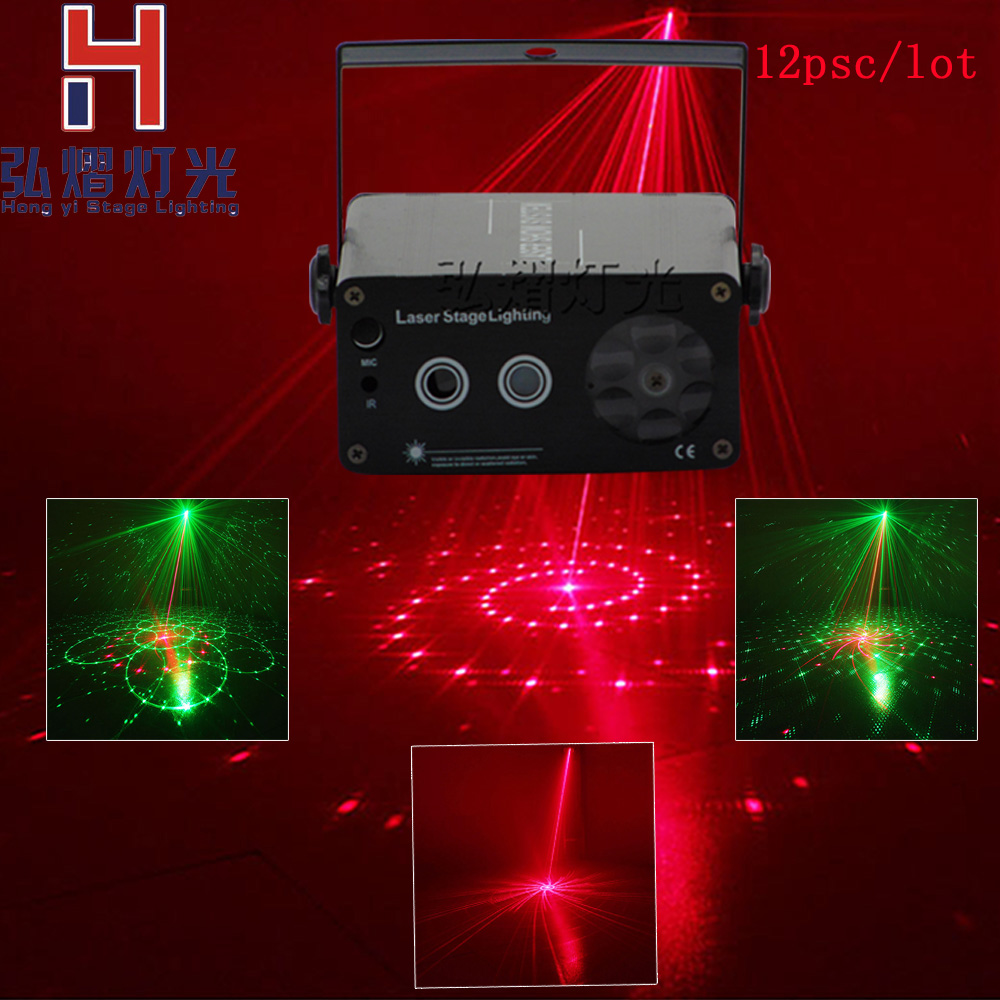12lot LED Control Laser Light Projector 2in1 RGBW with snowflake pattern red&green laser Christmas Hongyi Stage Lighting цены онлайн