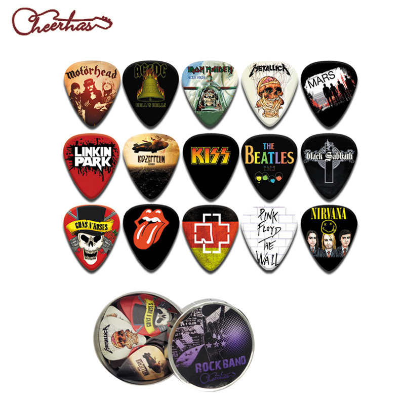 Famous metal rock music band design guitar pick plectrum with tin box packing