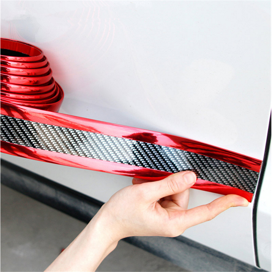 Image 5 - 2.5m Carbon Fiber Color Car Door Sill Scuff Protect Plate Fender Protector Side Body Skirt Eyebrow Grill Decoration-in Mudguards from Automobiles & Motorcycles