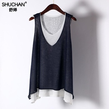 Shuchan Linen Patchwork Loose Tank Tops Casual Fashion High Quality Shirt For Woman 2019 New Summer Women Clothing Sleeveless
