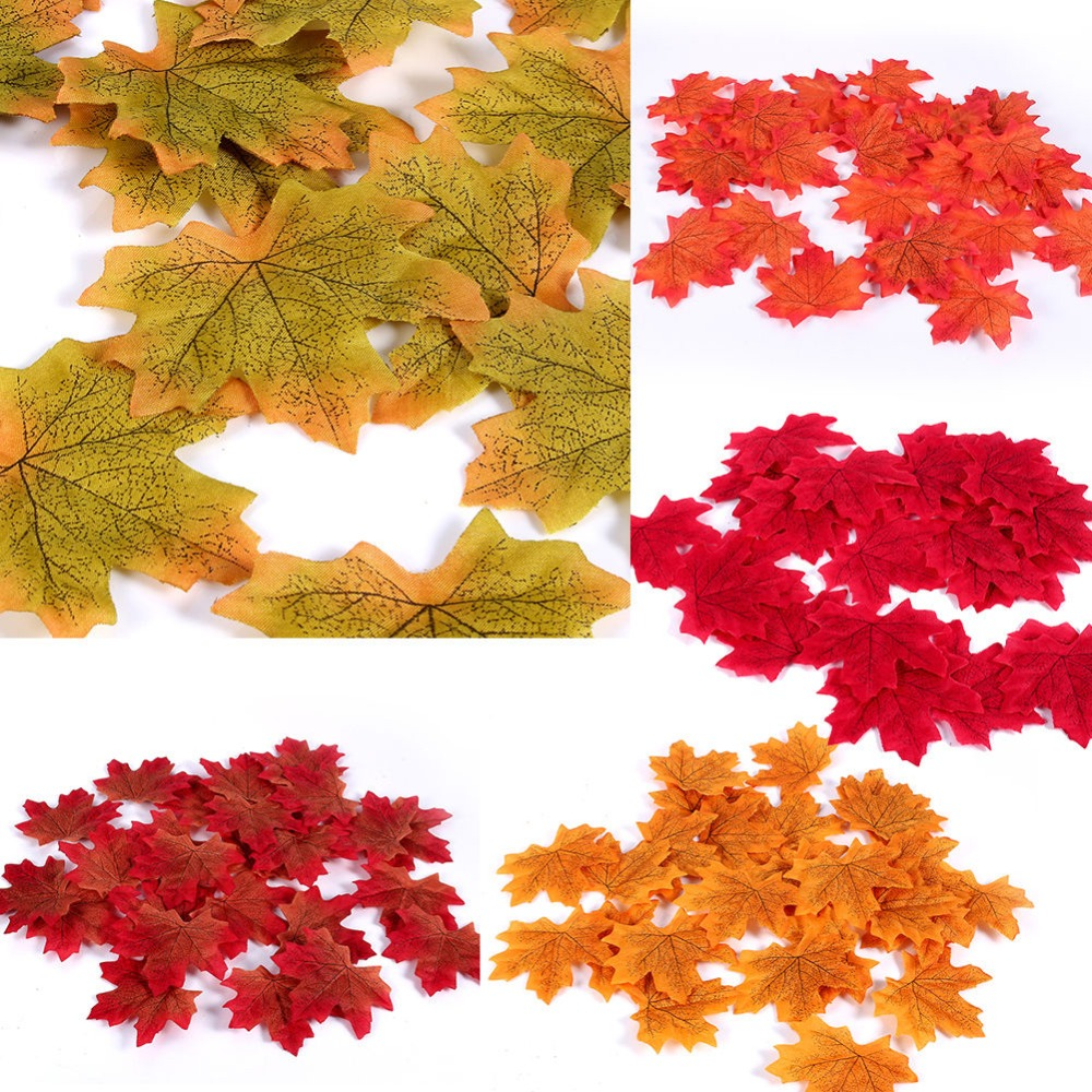 New Artificial Maple Leaves Simulation Decorative Maple Leaves Fake Fall Leaves For Home Wedding Party Decor 100Pcs/Set #264130 1