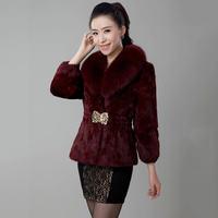 2018 Women Winter Rabbit Fur Coat Luxury Artificial Fox Fut Collar Seven Sleeve Slim Short Faux Fur Coat Plus Size 6XL LQ251