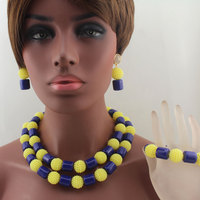 Royal Blue/Yellow Plastic Pearl Ball Necklace Bracelet Nigerian African Wedding Beads Bridal Jewelry Sets Free Shipping HD8644