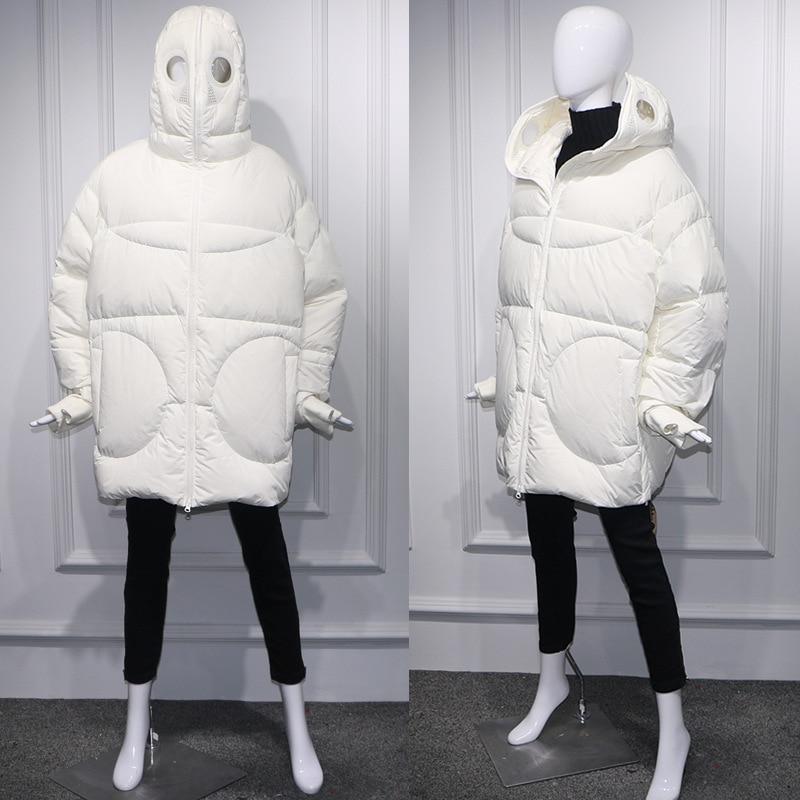 Cappotto di inverno Delle Donne Allentato Parka Pieno Viso Cap Con Cappuccio Spessa Parka Più Il Formato del Rivestimento delle Donne di Bianco Nero Divertente Personalità alien Cappotto - 5