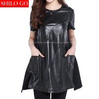 Plus Size New Fashion Women High Quality Sheep Skin Luxury O Neck Short Sleeve Geometric Black