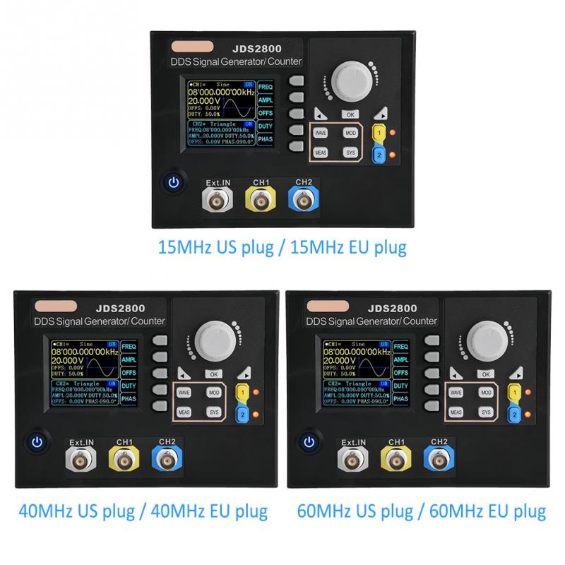 JDS2800 AC100 240V Dual channel DDS Function Arbitrary Waveform Signal Generator Software 15MHz 40MHz 60MHz US