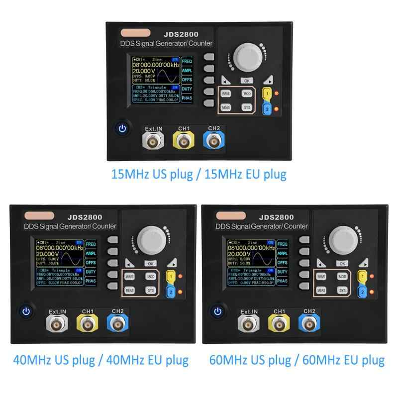 JDS2800 AC100-240V Dual-channel DDS Function Arbitrary Waveform Signal Generator + Software 15MHz 40MHz 60MHz US/EU Plug