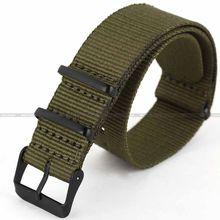 Nouvelle Armée Vert 20mm Nylon Toile Tissu Noir Boucle En Acier Inoxydable Bracelet À Quartz Militaire Montre Sport Bande/WB2034