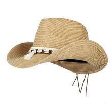 Böhmen Frauen Hohl Western Cowboy Hut Dame Strand Sombrero Hombre Stroh Panama Cowgirl Jazz Sonne Kappen Größe 56-58 CM cheap Cowboyhut Erwachsene Unisex Fest Beiläufig HXG JQX 56-58CM Can Be adjusted size 12CM Jazz Hat Roll Up