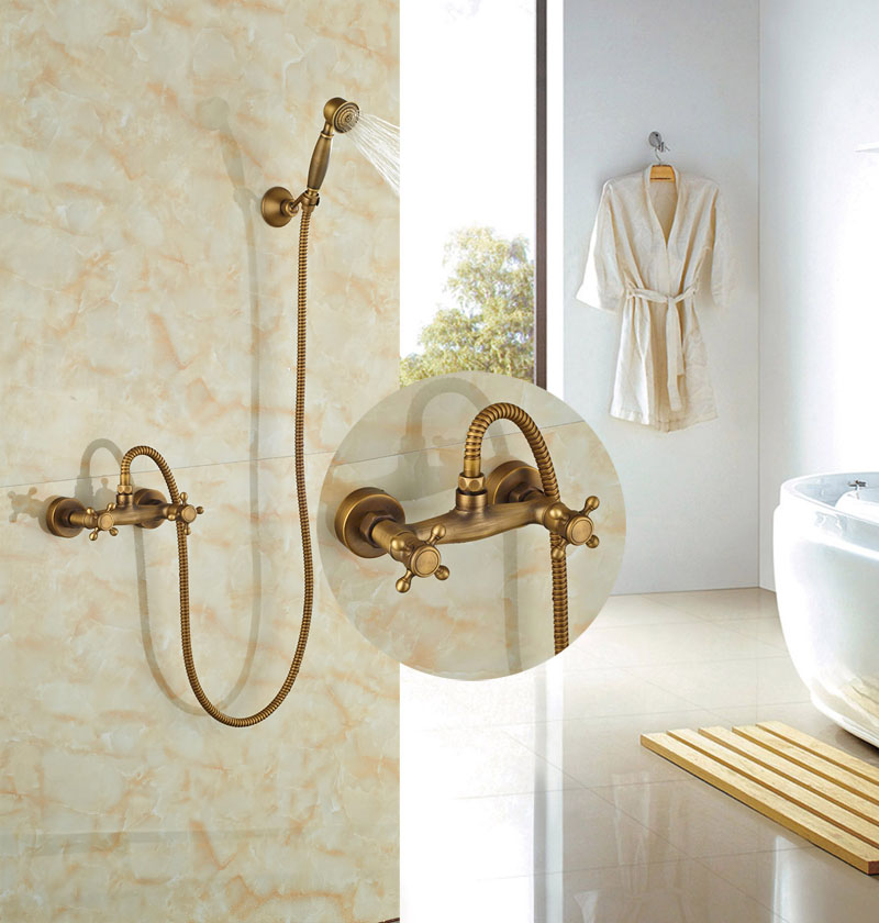 Widespread Bathroom Antique Brass Shower Faucet Double Handles Faucet Hot&Cold Faucet цена