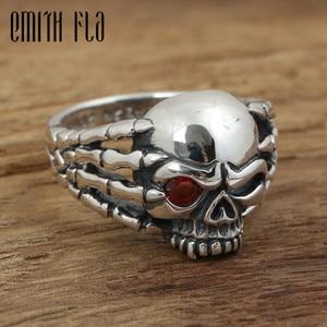 Image 1 - Echt 100% 925 Sterling Zilver Vintage Punk Poot Skull Ring Voor Mannen Mode Unieke Persoonlijkheid Skelet Sieraden