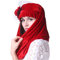 Women Velvet Derby Church Wedding Cocktail Evening Party Winter Warm Dress Fedora Berets Wide Brim Cap with Scarf Shawl Set New