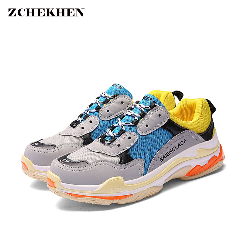 Breathable Air Mesh Dad Sneakers Women Casual Shoes Chunky Sneakers Fashion Lace Up Flat Outdoor Shoes Women Tenis Feminino women shoes 2018 fashion hot breathable mesh summer shoes woman tenis feminino light lace up women sneakers casual female shoes