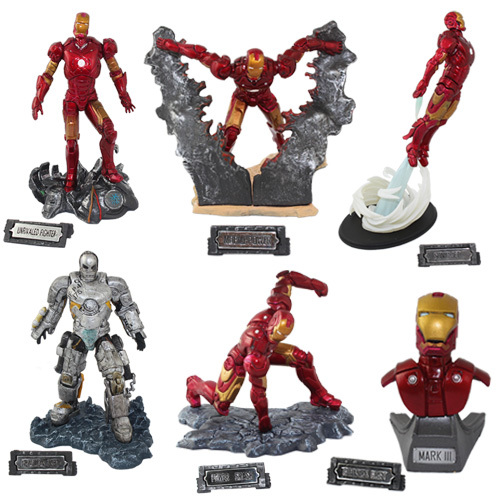 FREE SHIPPING Japanese Animation Cool 6x EZHOBI TOYS Iron Man 7cm 13cm PVC Figure