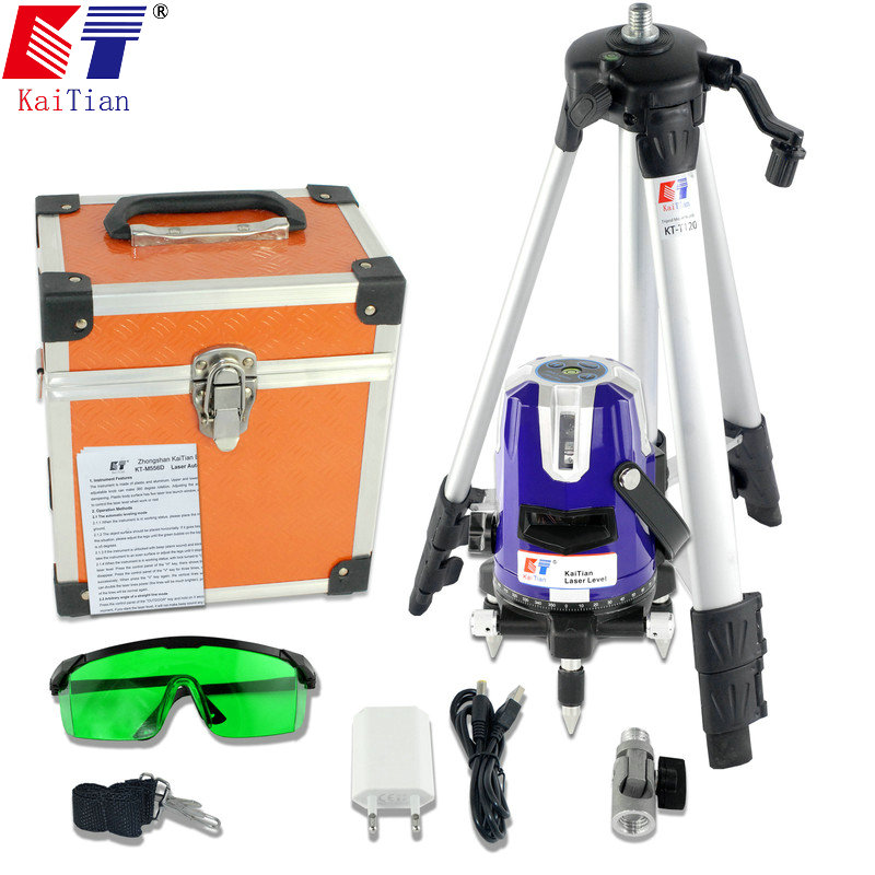 KaiTian Laser Level Tripod Green 5 Lines Cross Level Leveling with Tilt/Slash Function and Receiver Detector EU Plug Lazer Level