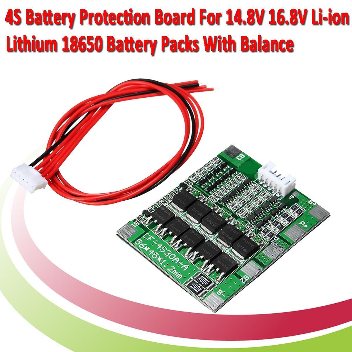 4s 30a 148 V Li Ion Lithium 18650 Batterie Bms Packs Pcb Protection 4v Circuit Board Battery Croons 74v Balance Intgr Circuits 45x56mm Carte Lectronique Dans Intgrs De