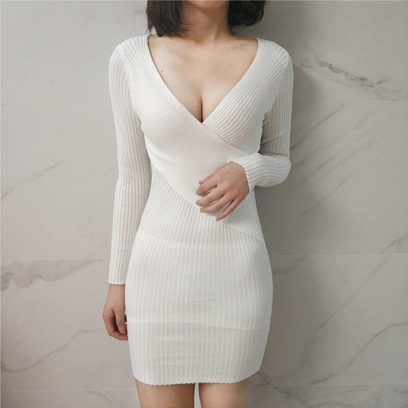 11Colors Sexy V-neck Package Hip Women Long Sweater Long Sleeve Women Dress 2018 Winter Knitted Dress Women Sweaters  Pullovers