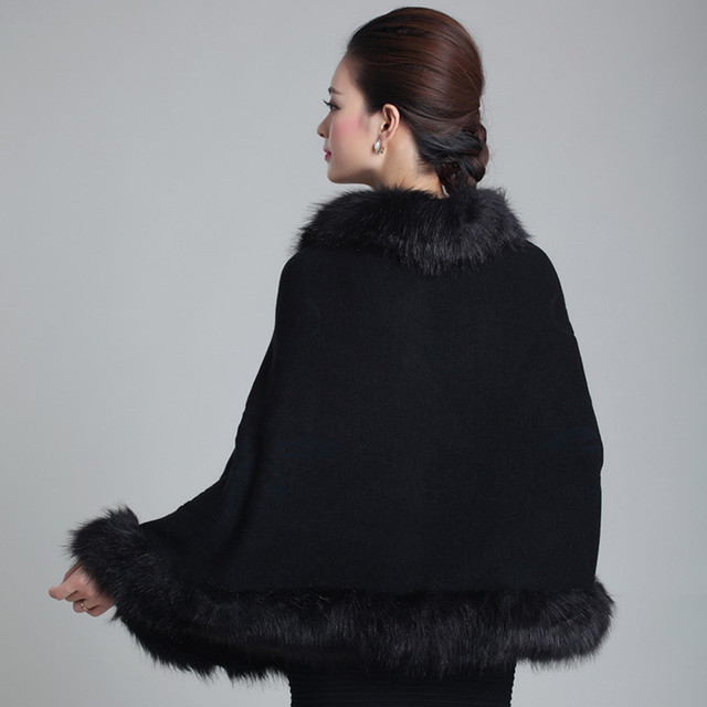 New Fashion Spring Women Faux Fur Coat Leather Grass Fox Fur Collar Ponchos And Capes Lady Purple Shawl Cape Wool Fur Coat