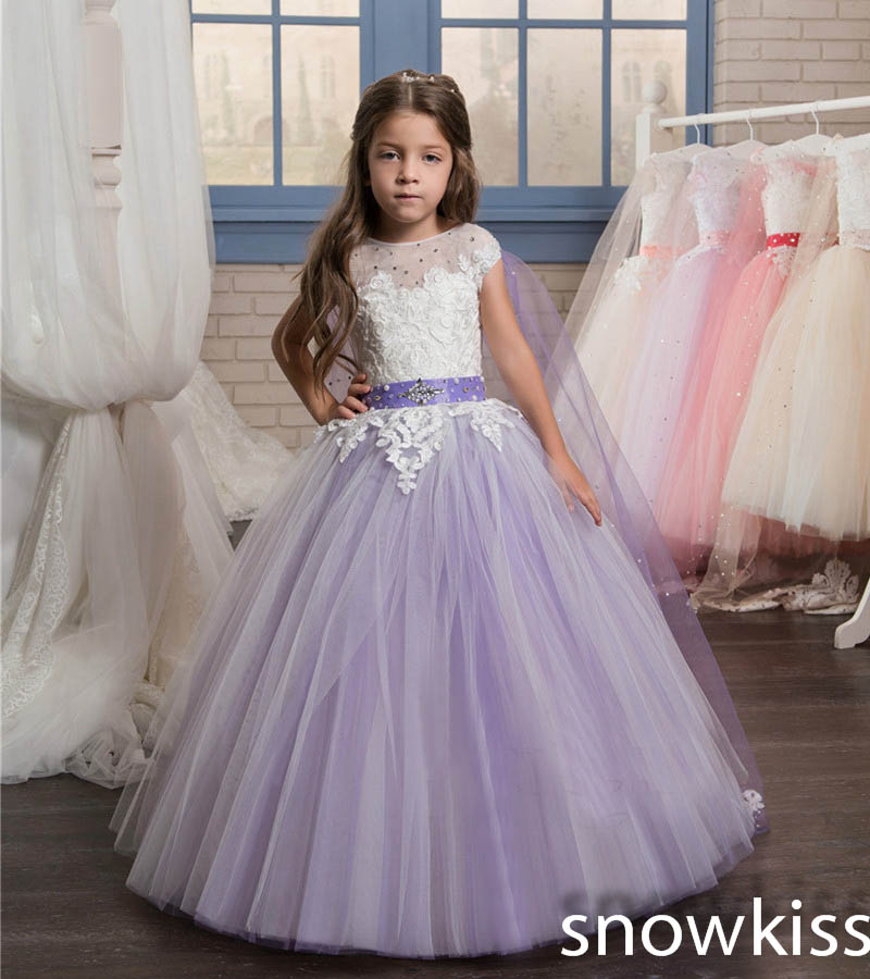 Lavender beauty flower girl dress for wedding with lace appliques crystals and beaded shawl little kids pageant prom dresses 2017 red cute flower girl dress for wedding with crystals ruffle tulle baby lace dress little kids pageant gowns
