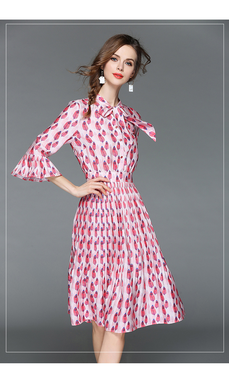 Mujer cuerno manga impreso vestido de verano Rosa vestidos para ...