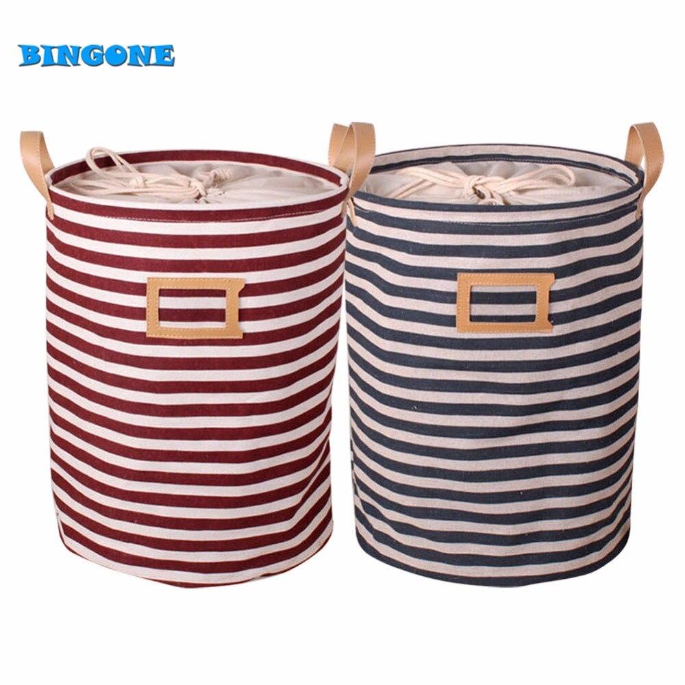 Vysoce kvalitní bavlněné prádlo tkanina skládací pruh skladování kbelík mytí oblečení prádelna šňůrka koš s rukojetí -FF  t