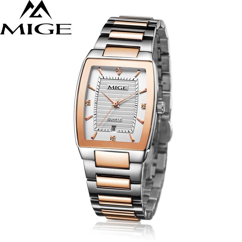 Top marca mige cuadrado negocio Rosa Blanco Cara banda de acero inoxidable MOVIMIENTO DE JAPÓN reloj del amante waterresistant Mans reloj