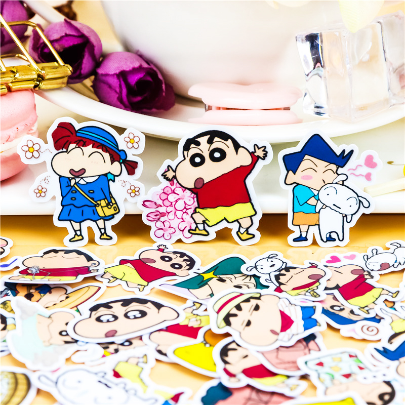 46pcs Creative Cute Self-made Crayon Shinchan 2  Scrapbooking Stickers/decorative Sticker /DIY Craft Photo Albums/paper Stickers