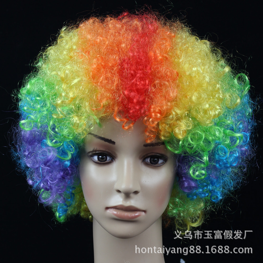Halloween Party Afro Wigs Colorful Christmas Cosplay Hairs Clown ...