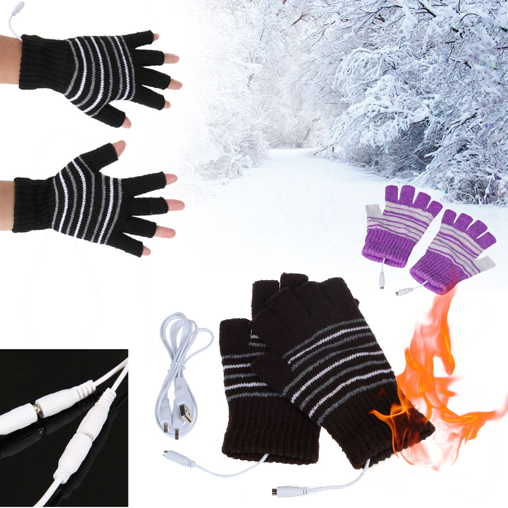 5V USB Powered Men Women Heating Heated Winter Hand Warmer Gloves Washable Winter Garden Gloves
