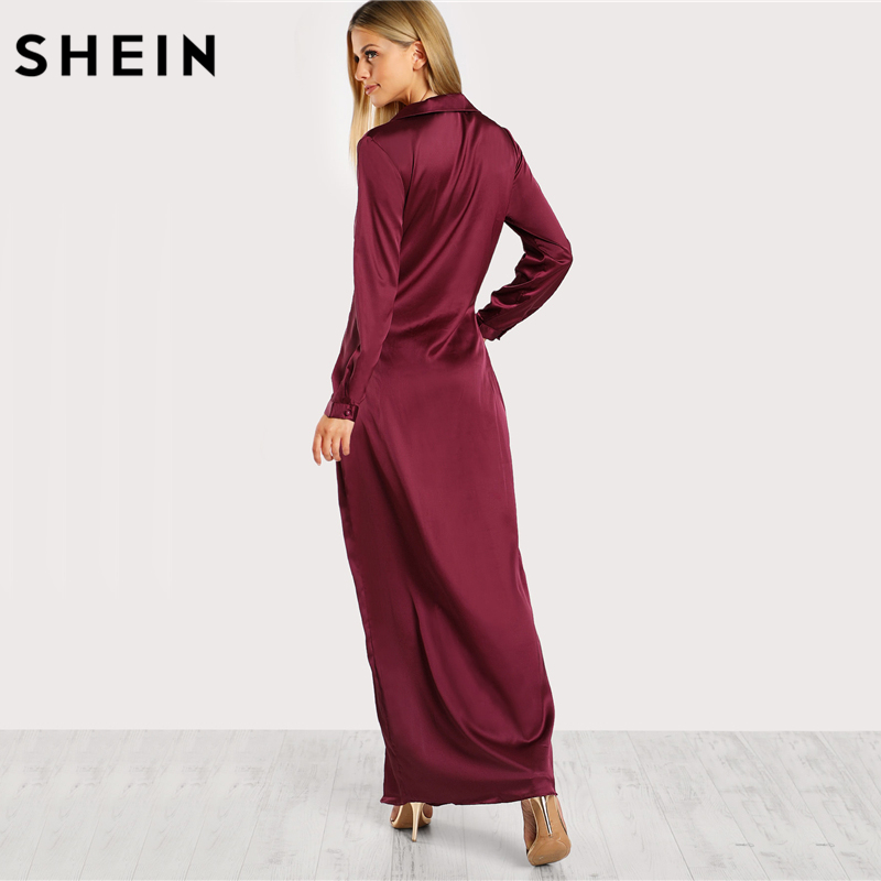 Aliexpress.com : Buy SHEIN Burgundy Sexy Party Dress Satin Front Twist Wrap  Dress Lapel Deep V Neck Long Sleeve Split Maxi Shirt Dress from Reliable  maxi ...