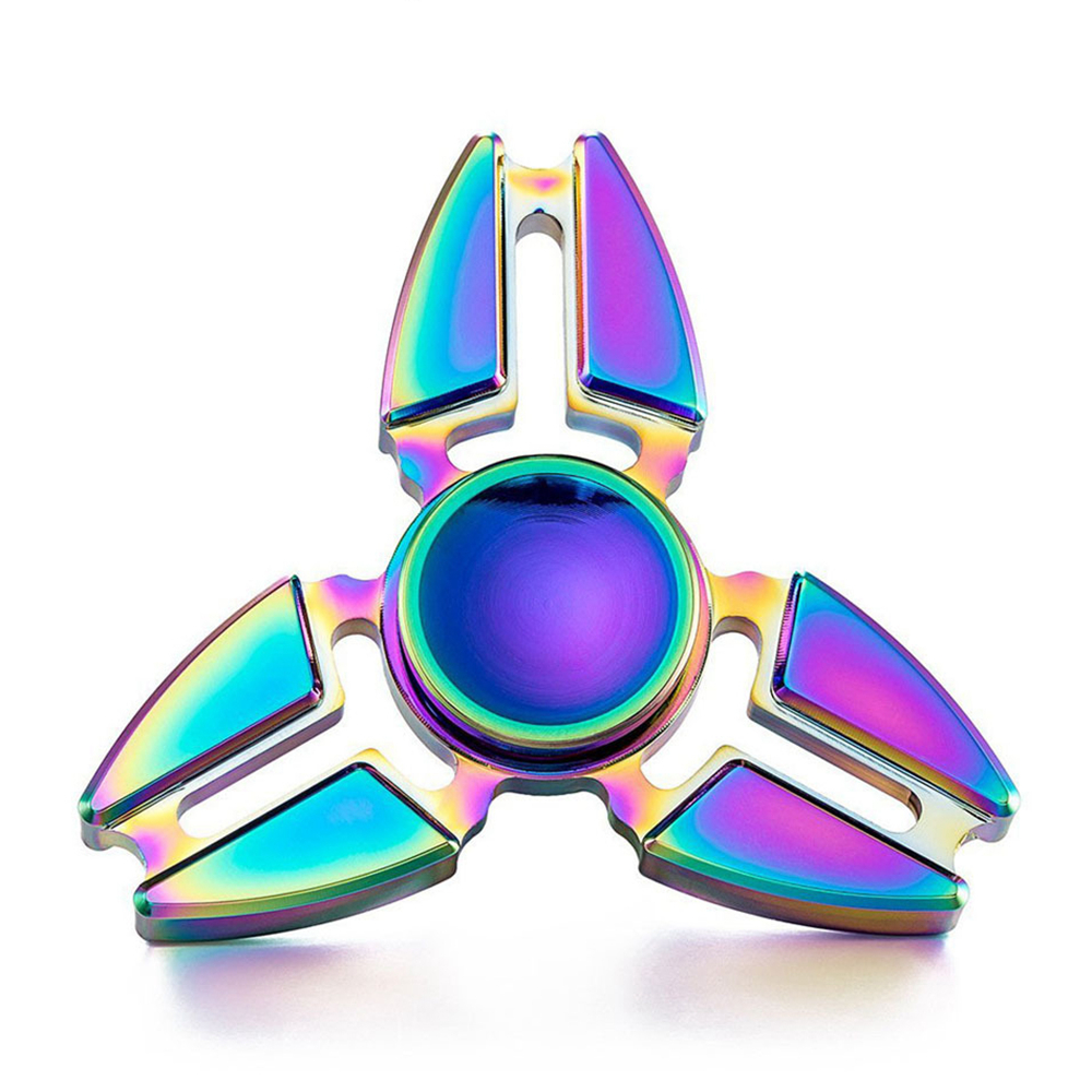 BabeLeMi Rainbow Color Zinc Alloy Metal Fidget Hand Spinner Finger Spiner Tri-Spinner Anti Stress Funny Gift Toy for Autism ADHD enlarge