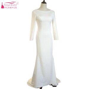 Image 2 - Marfim sereia simples vestidos de casamento 2021 moda jóia manga longa sem costas nupcial praia boêmia vestidos zw007