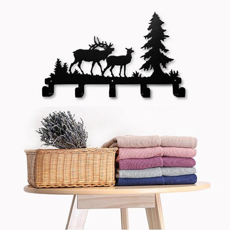 Cerf arbre forêt Elk bande dessinée Animal métal mural sac cintre porte-manteau vêtements crochets suspendus supports