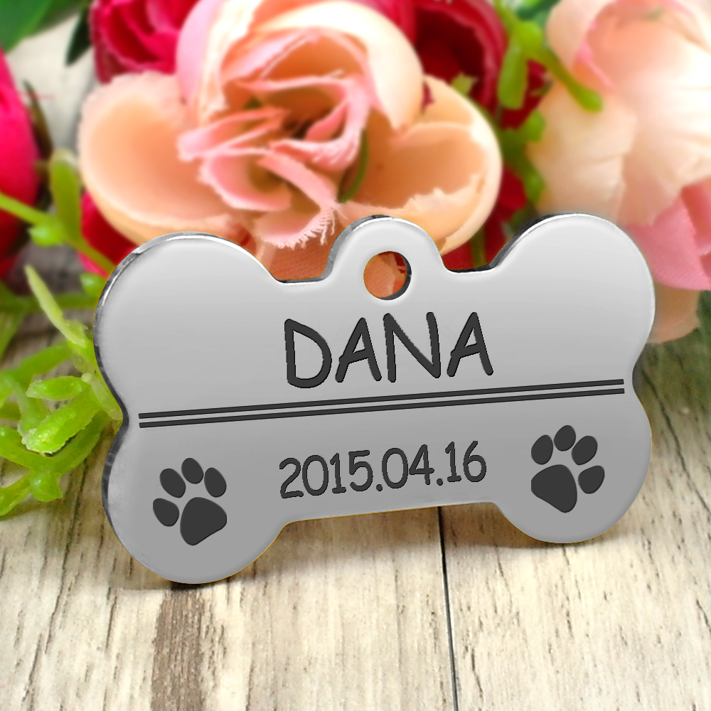 Personalized Dog Tags Engraved Cat Puppy Pet ID Name Collar Tag Pendant Pet Accessories Bone/Paw Glitter 31