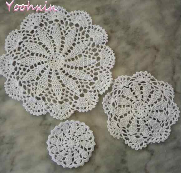 3pcs Modern Handmade Cotton Crochet Place Mat Cup Mug Doily Drink