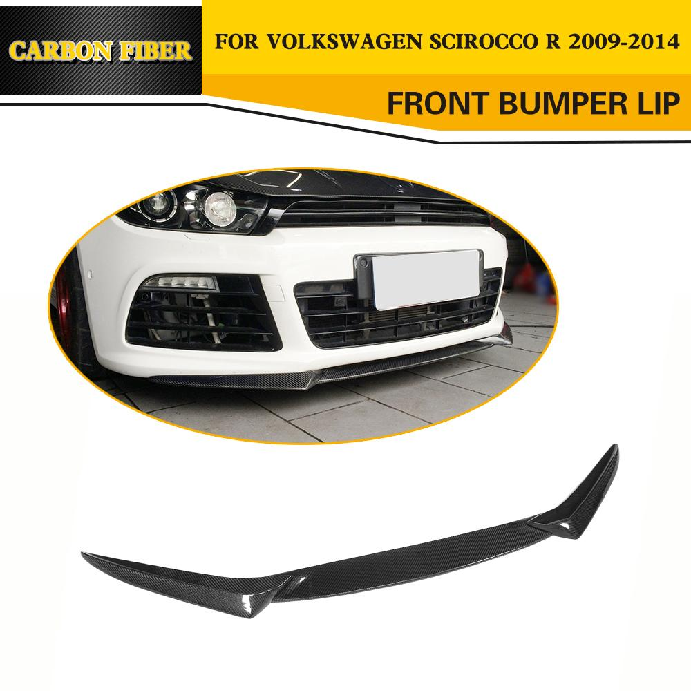 Car Styling Carbon fiber Car Racing Front Lip Splitters for VW Scirocco R bumper 2009-2015 2 5m car rubber carbon stickers for skoda fabia octavia front lip bumper decoration for vw auto exterior stickers for toyota
