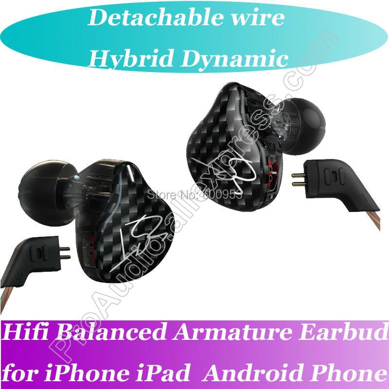 Black Latest Model Hifi Balanced Armature Headphones Earphones IEM Detachable with Mic Dual Driver Earphones HIFI Earbuds Bass H mi dual driver earphones black
