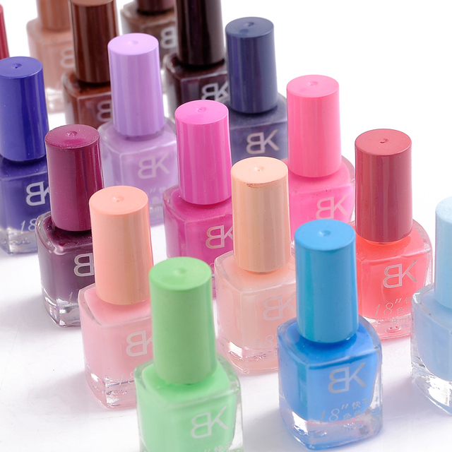 6 bottle bk nude color candy color black transparent nail polish oil set quick dry nail art supplies