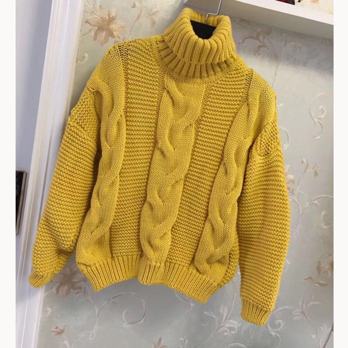 Herbst Winter Frauen Gestrickte Pullover Pullover Koreanische Stil Rollkragen Dicken Pullover Schnee Tragen Faul Twist Jumper