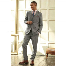 2016 Custom Made Smoke Grey Men Slim Fits Suits Tuxedos Grooms Suits Wedding Suits Formal Party