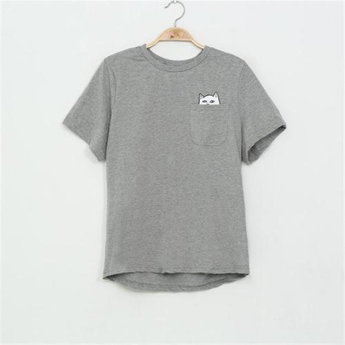 SexeMara 2016 New Summer Pocket Harajuku Cat Lovers Women Top Short-sleeve T shirt  Sweet Style Black/White/Grey Plus Size