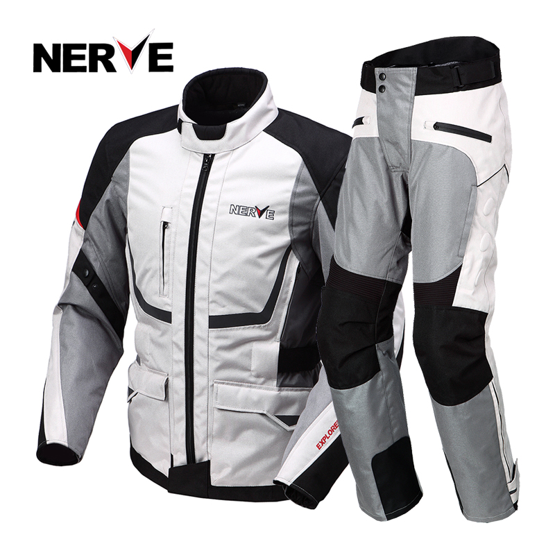 NERVE Summer Motorcycle Riding Breathable Safety Combinations Jacket and Pants Motocross Racing Off Road Protection Gear for Men  brand nerve motorcycle riding breathable raincoat and pants for men and women free shipping summer waterproof suit rain coat