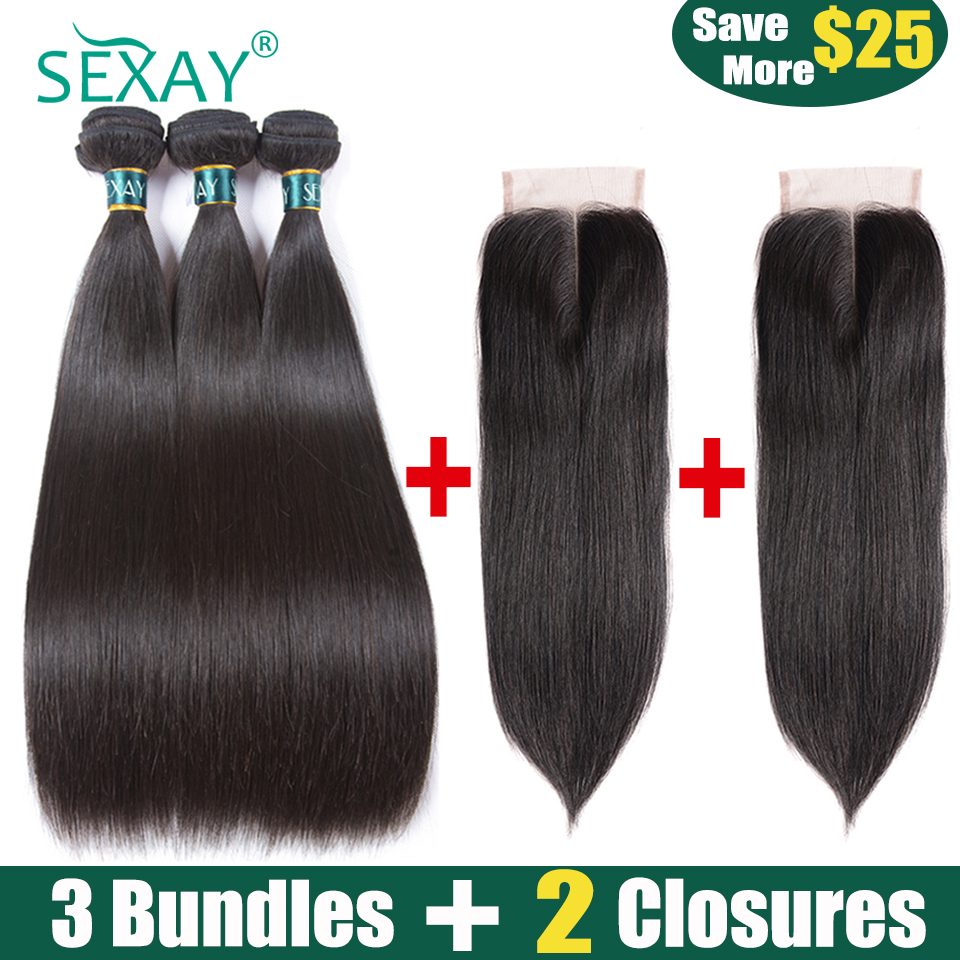 3 Bundles With 2PCS Closures Brazilian Straight Hair Bundles With Closure SEXAY Non Remy Human Hair Extensions With Lace Closure