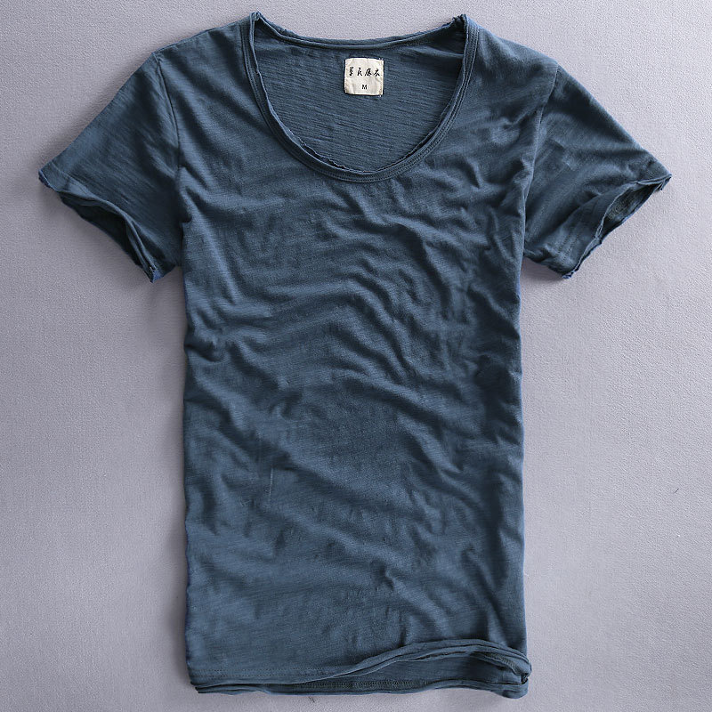 Summer Mens Cotton Bamboo Cloth Thin Soft Breathable Casual T-shirt Male V Neck Short Sl ...