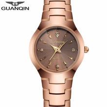 New GUANQIN Watches Women Business Luxury Tungsten Steel Quartz Watch Date Analog Display Ladies Bracelet Watch relogio feminino