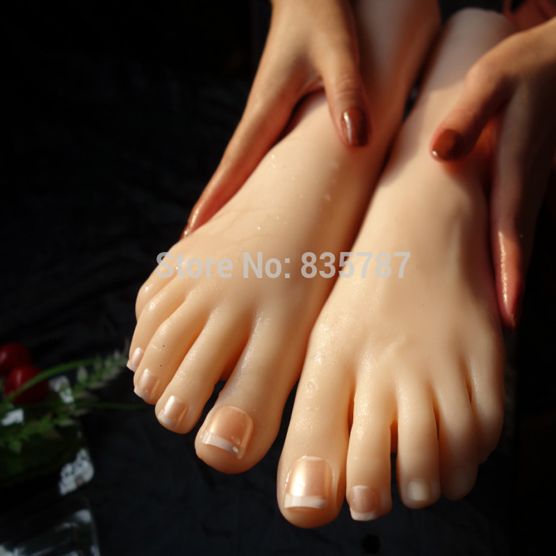 35# 21cm New silicone female feet model with inner-bone inside,shoe model,toe can movely T-02 top quality new sex product soft feet fetish toys for man lifelike female feet mannequin fake feet model for sock show