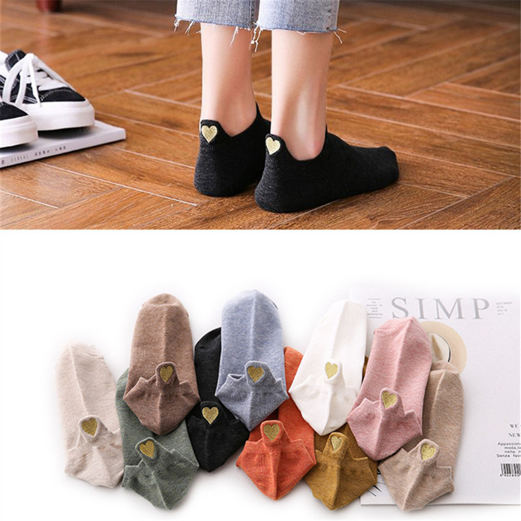 Short Ankle   Socks   Casual Cotton   Socks   Casual Flexible Fashion Women Irregular Heart   Socks   Sport Short Cute Gift SockW0420