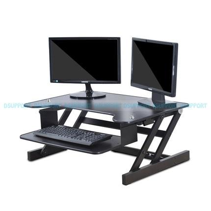 m1m easyup height adjustable sit stand desk riser foldable laptop desk stand with keyboard tray holder stand - Desk Riser
